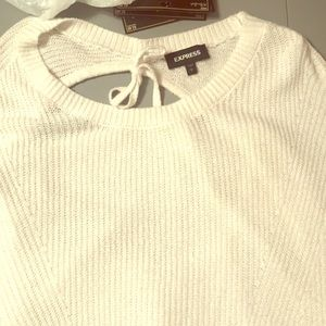 White backless sweater